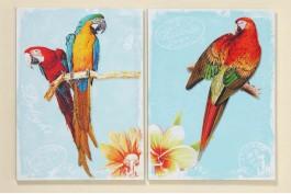 Tavlor med papegojor, 2 st/set