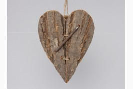 Hängdekoration i trä, hjärta