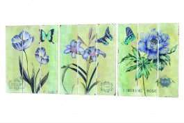 Tavlor med blomstermotiv, 3 st/set