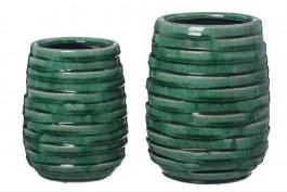 Vas i grön keramik, 19 cm