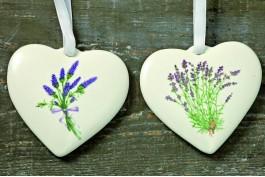 Keramikhjärtan lavendel, 2 st/set