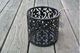 Ljuslykta rund 15 cm, svart