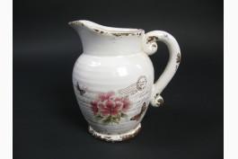 Keramikkanna med rosdekor