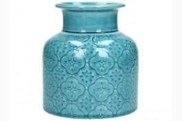 Vas i blå keramik, h 12 cm