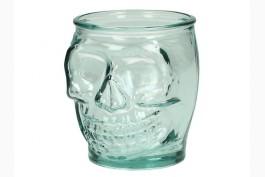 Ljuslykta återvunnet glas döskalle 10,5 cm